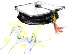 graduation cap hands reaching up grasp